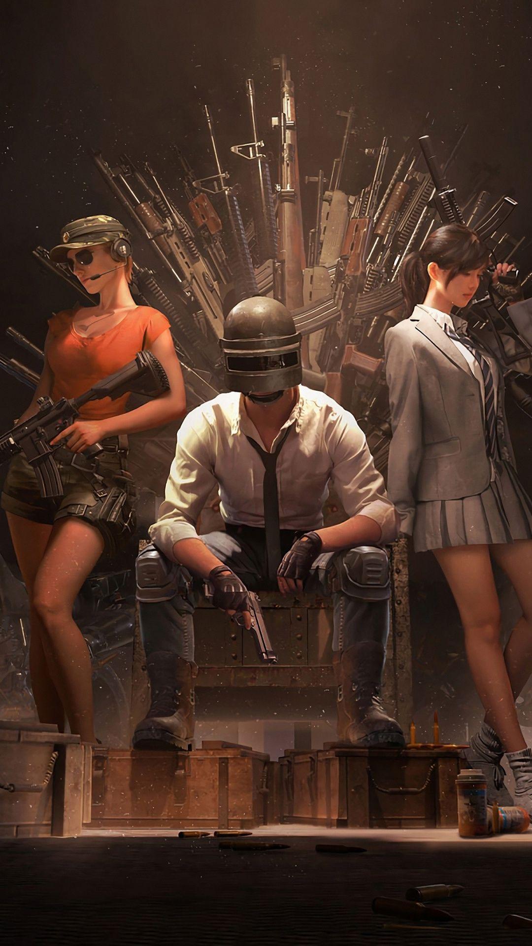 PUBG Helmet guy with girls guns throne video game 1080x1920 1080x1920