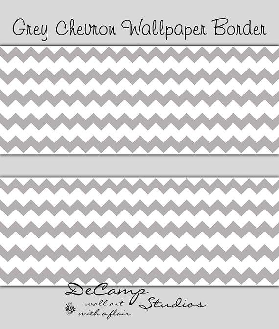 GREY GRAY CHEVRON Wallpaper Border Wall Decal Baby Girl Boy Nursery 570x672