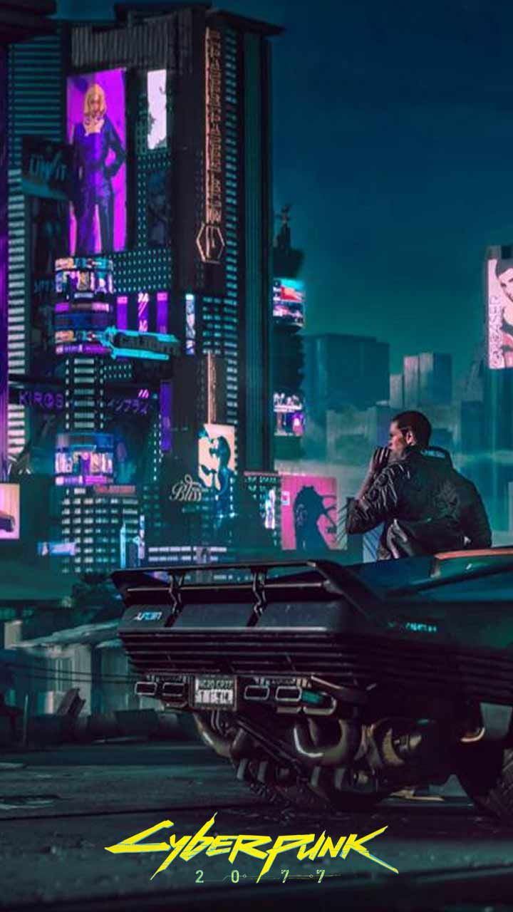 Cyberpunk 2077 wallpaper HD phone backgrounds Night city game logo 720x1280