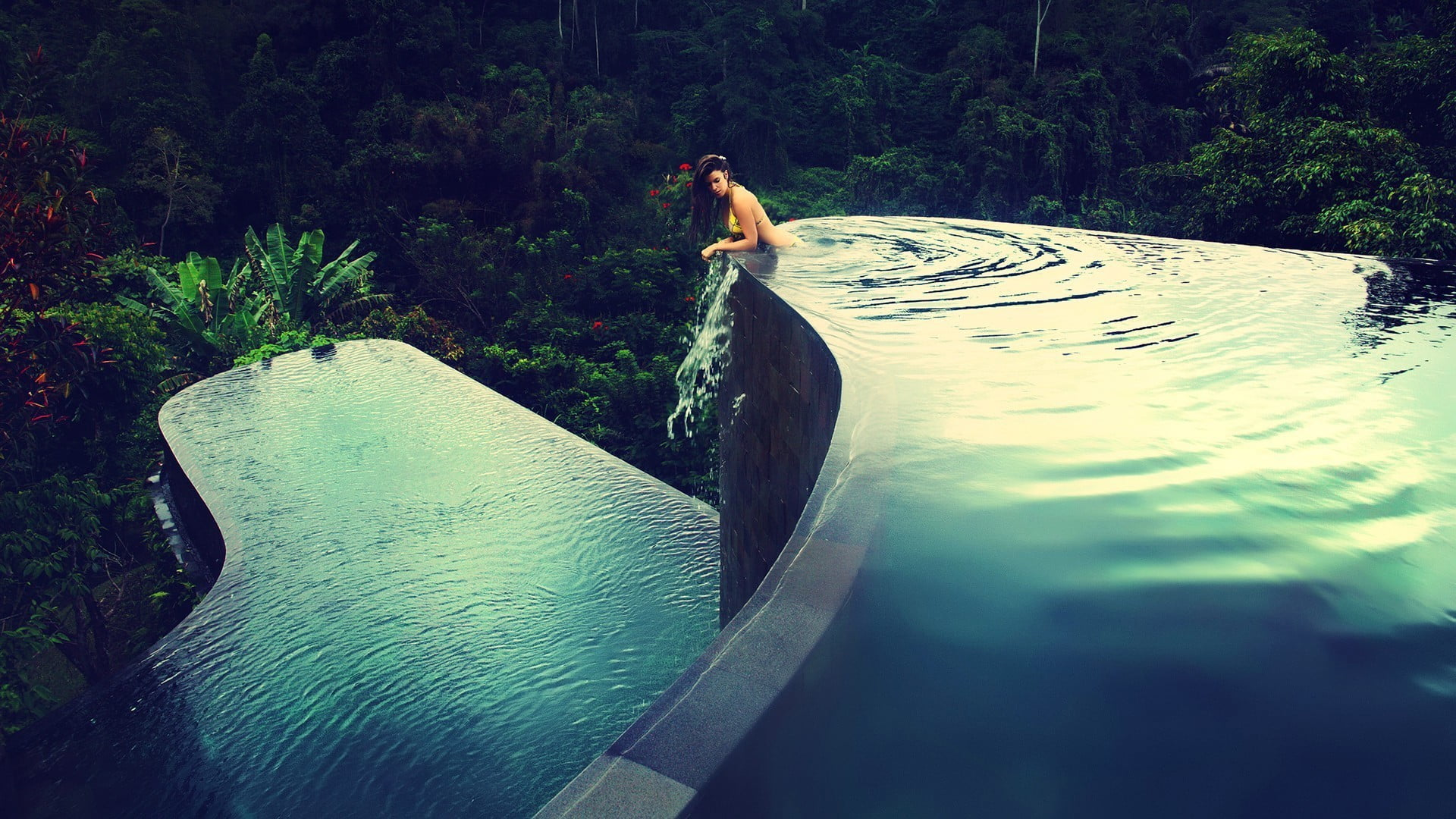 Woman submerged in infinity pool HD wallpaper Wallpaper Flare 1920x1080