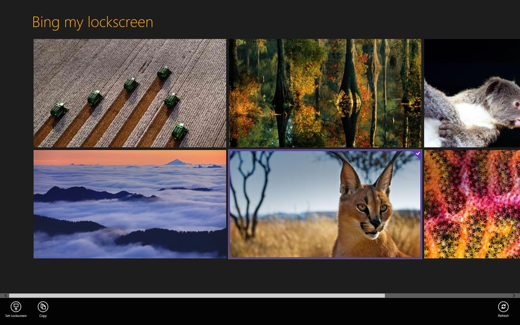 Bing My Lockscreen allows you to select from the eight most recent 1024x640