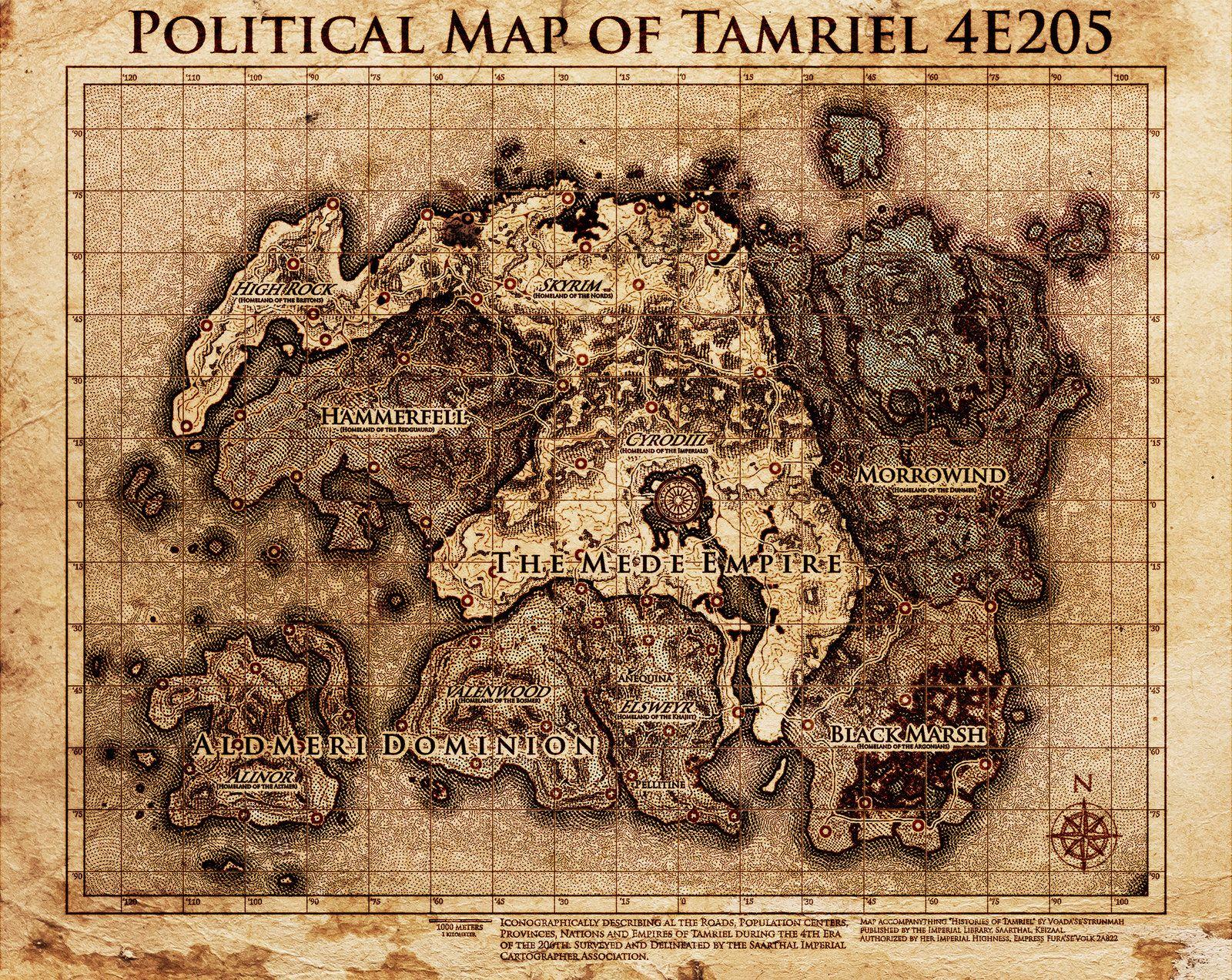 Elder Scrolls Politcial Map Tamriel by DovahFahliil map 1600x1273