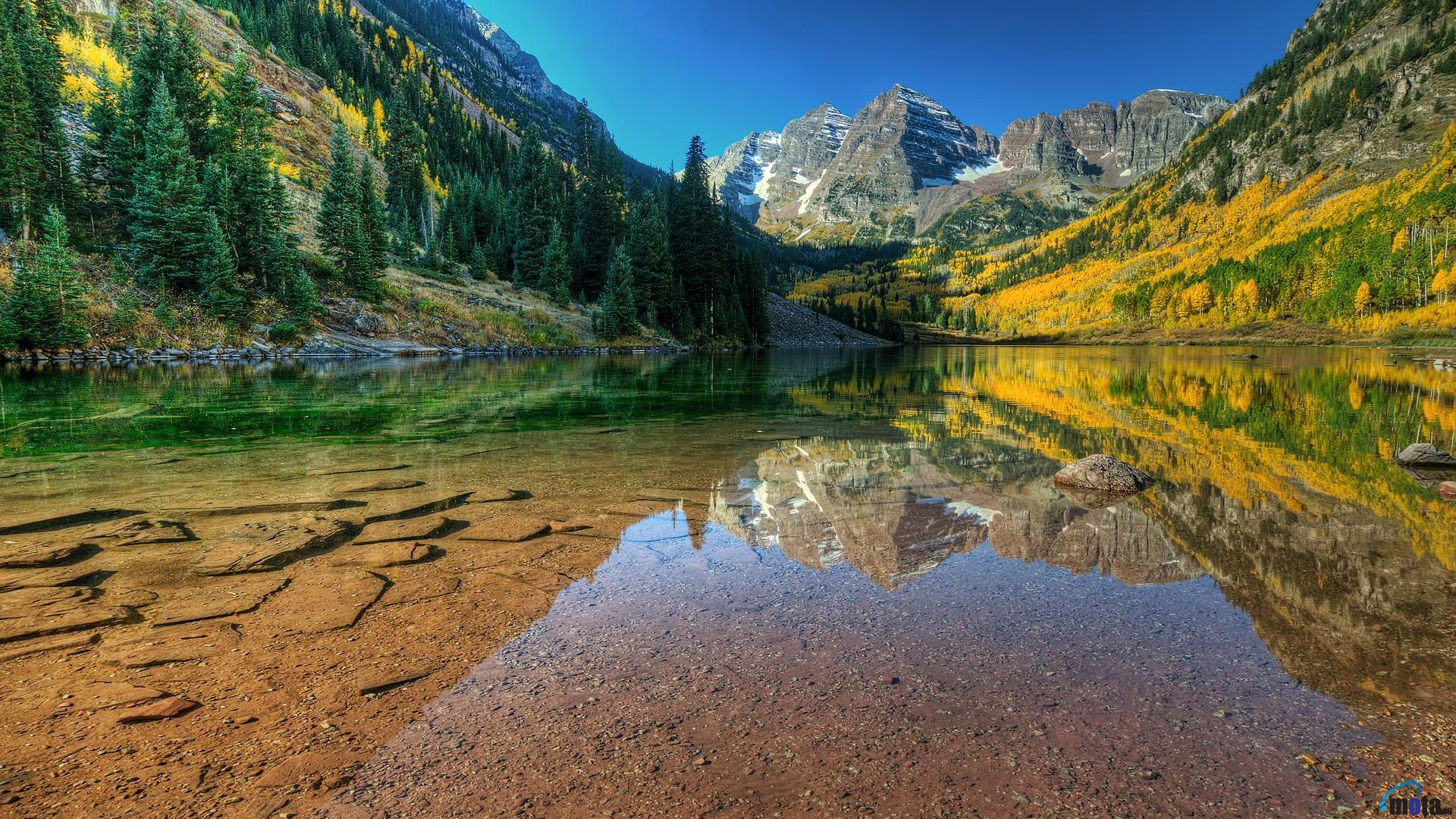 Download Wallpaper Maroon Bells Colorado 1920 x 1080 HDTV 1080p 1920x1080