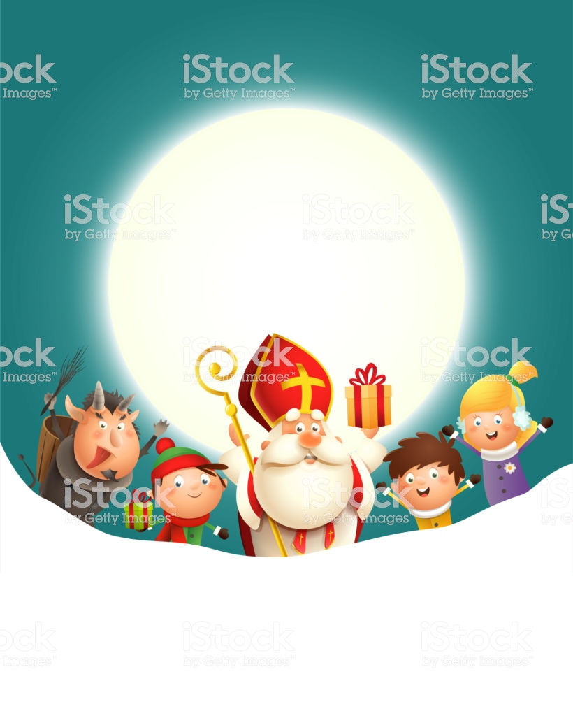 Saint Nicholas Krampus And Kids Celebrate Holiday In Front Of Moon 820x1024