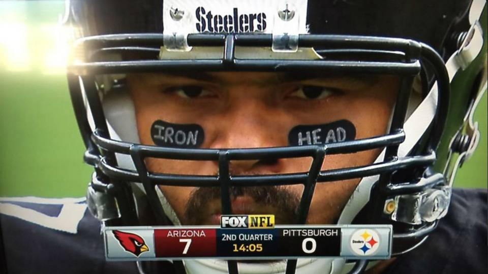 Yes Cam Heyward is wearing Iron Head eye black again NFL 960x540