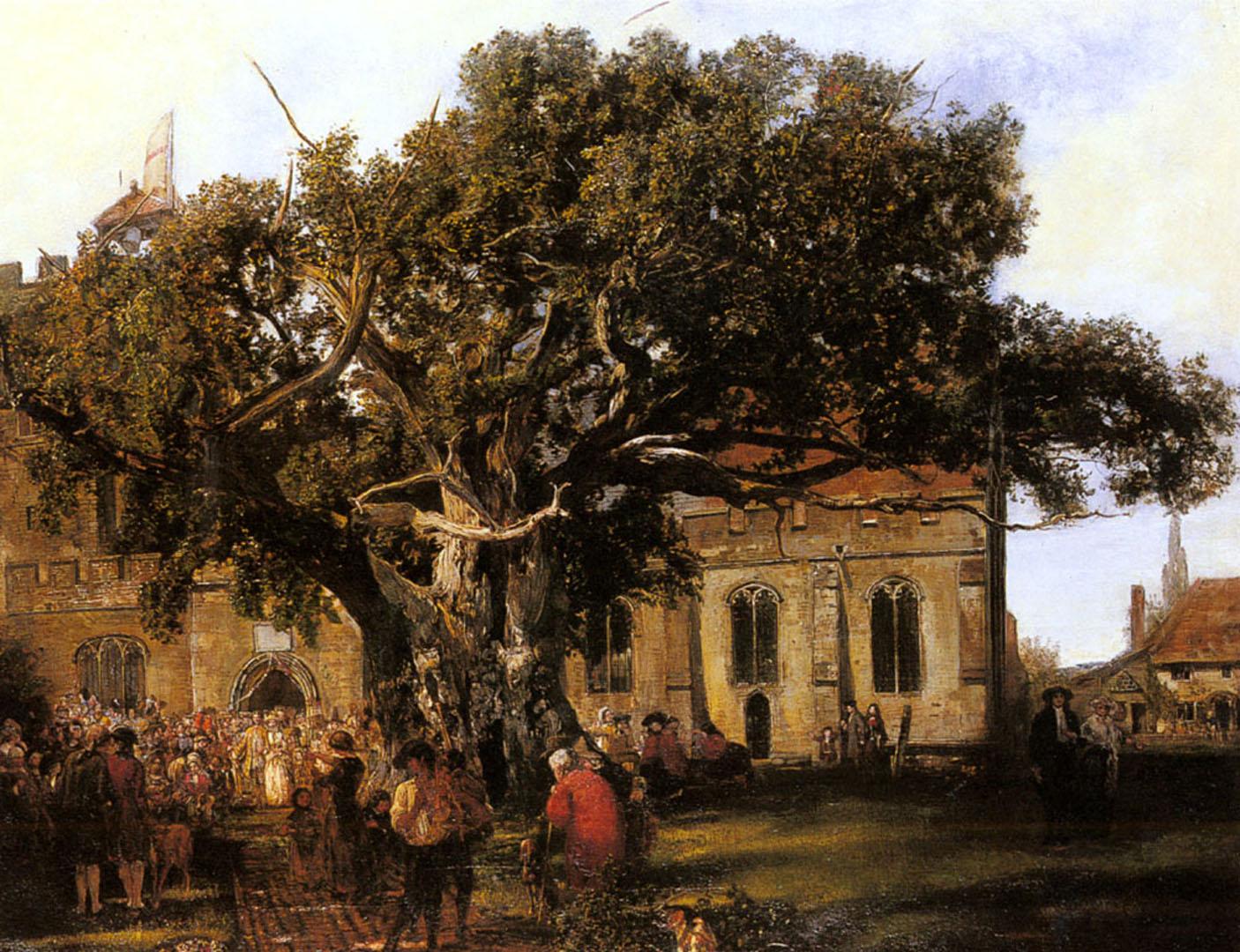 Village Wedding   English Art Wallpaper Image 1406x1080