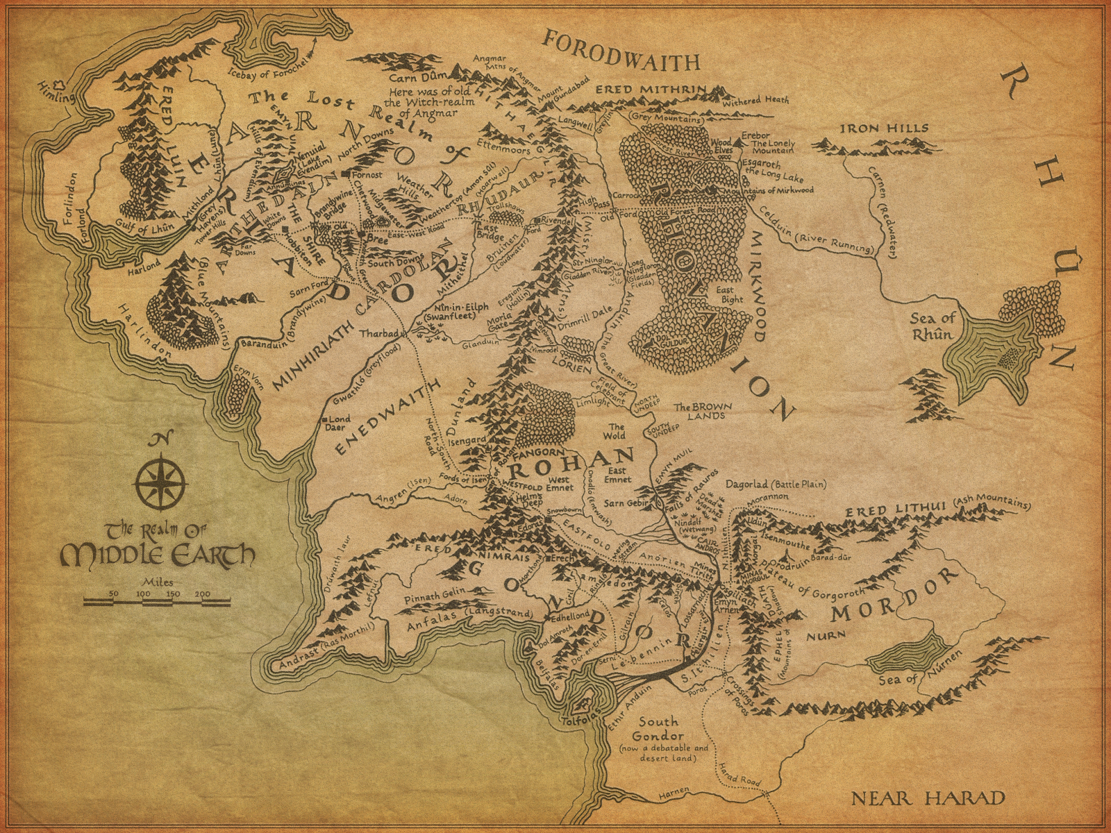 Lord of the Rings images Map of Middle Earth HD wallpaper 1600x1200