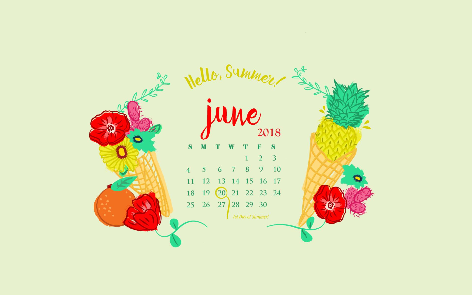Cute June 2018 Calendar Printable Calendar 2018 1920x1200