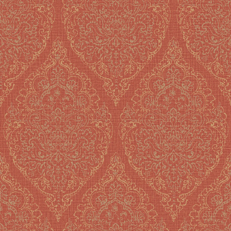 Grandeco Boho Chic Metallic Stencil Damask on Red Wallpaper 10m Roll 1500x1500