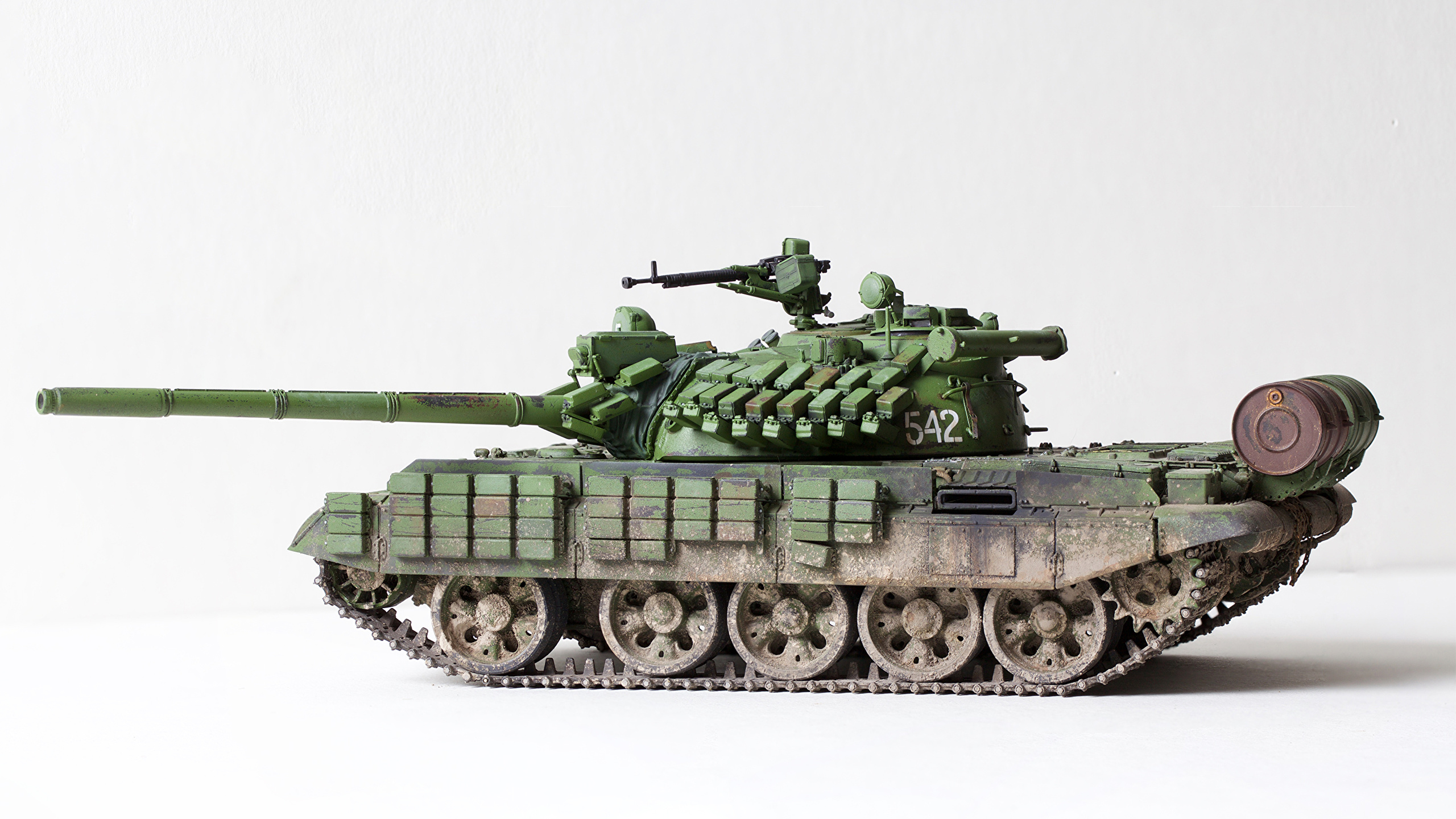 Photo Tanks Russian T 55 AMV Toys White background Army 2560x1440 2560x1440