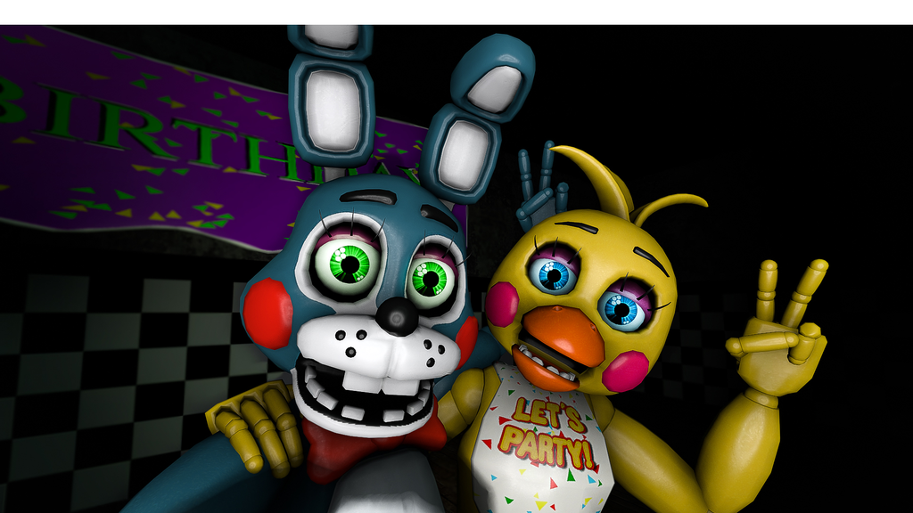 Toy Bonnie and Toy Chica sitting on a tree by JMPFnaf22 on 1024x576