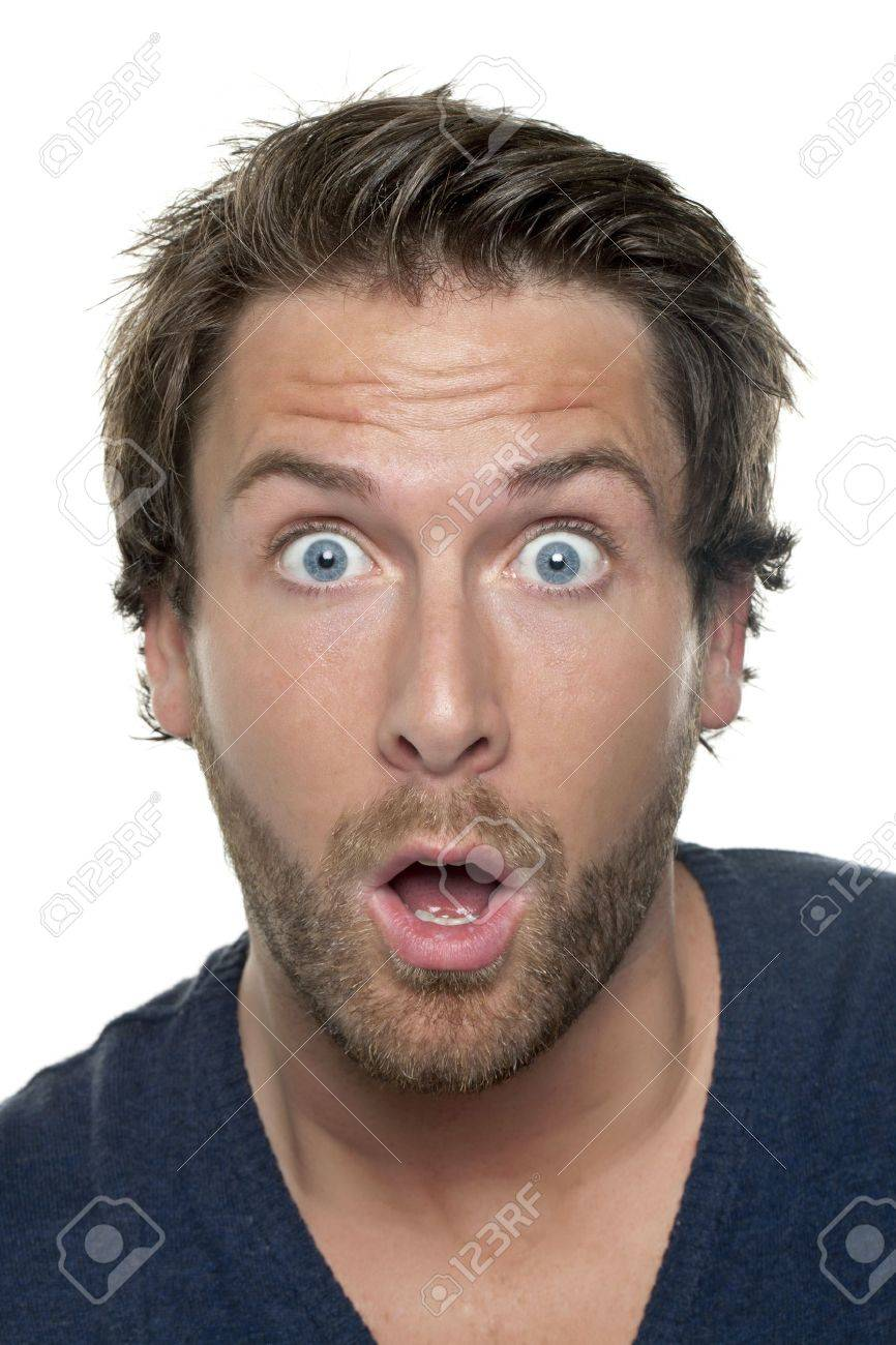 Close Up Image Of Shocked Man Face Against White Background Stock 866x1300