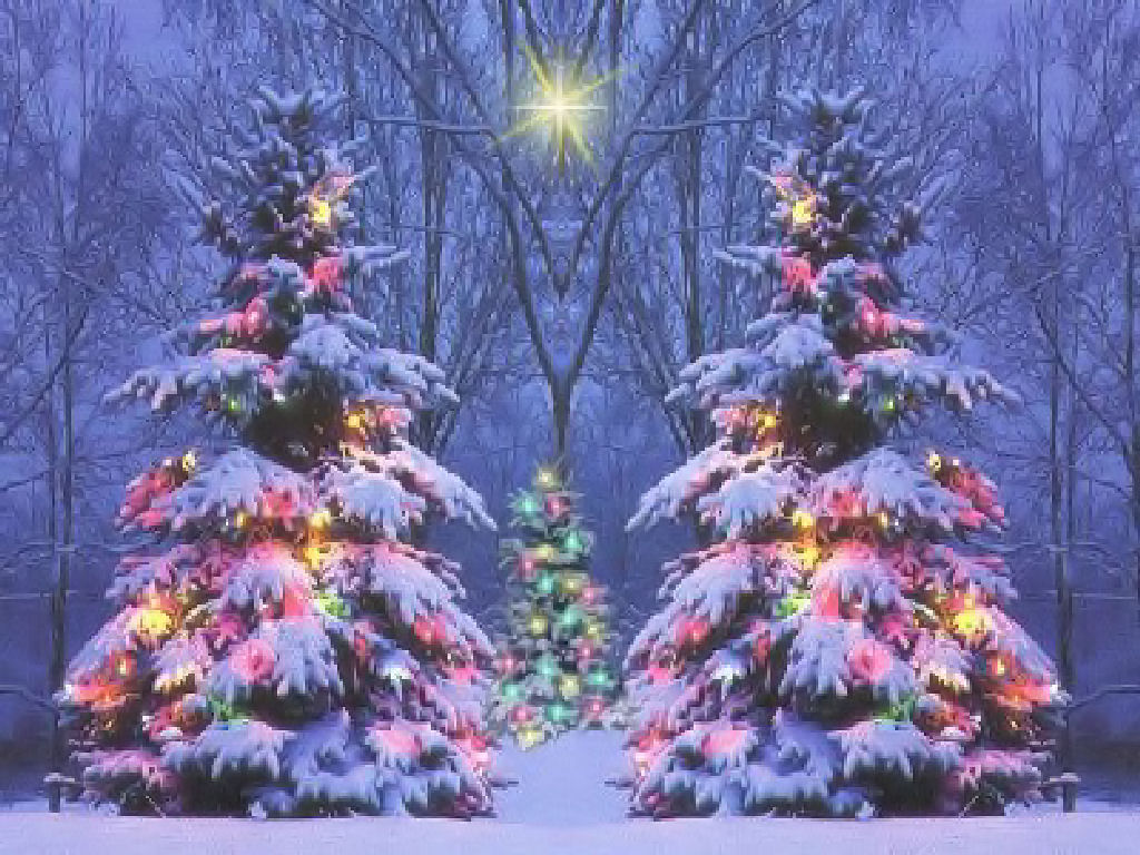 Pics Photos   Christmas Winter Scene Wallpaper 1024x768