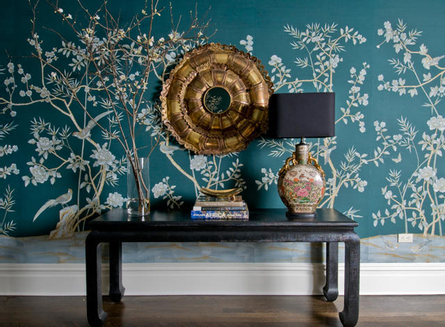 Free Download Peacock Blue Wallpaper Eclectic Entrancefoyer Mmr