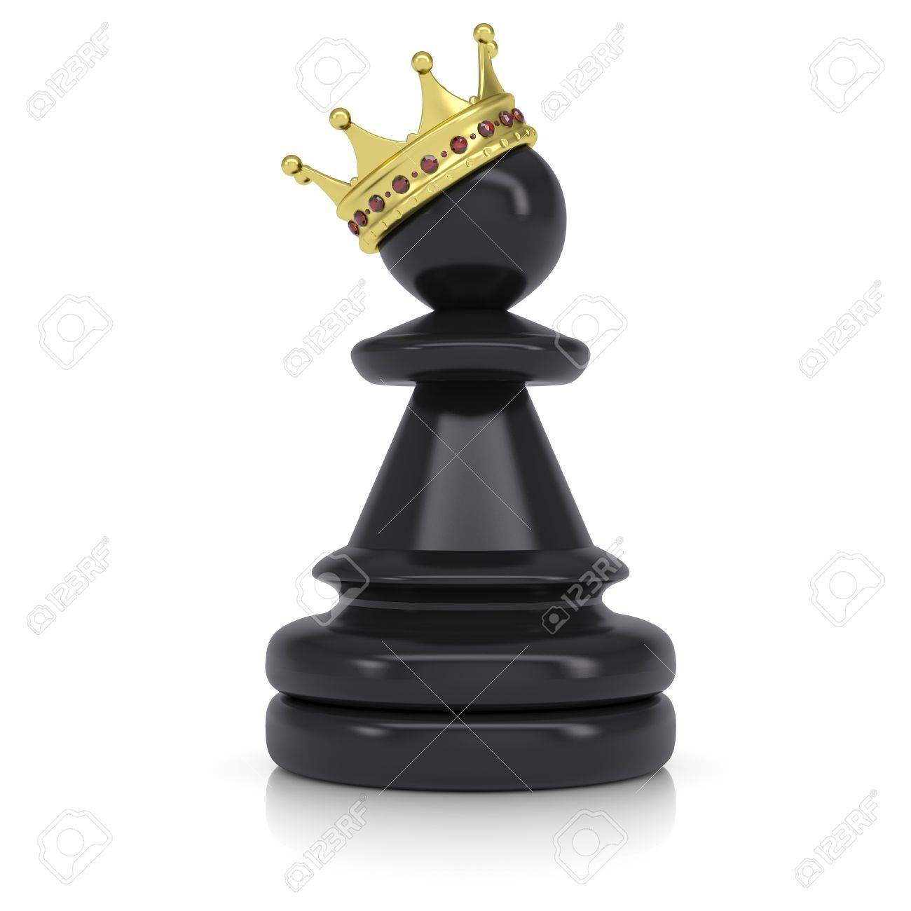 Pawn With Gold Crown Isolated On White Background Stock Photo 1300x1300