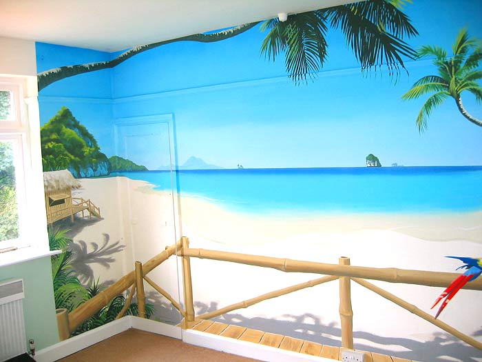 Paradise mural   view of a thailand beach from your bamboo beach hut 700x525