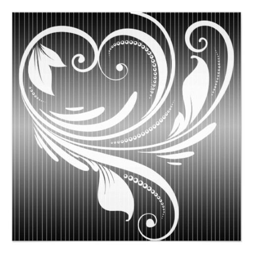 Pinstripe Heart Wedding has a black and white pinstripe background 512x512