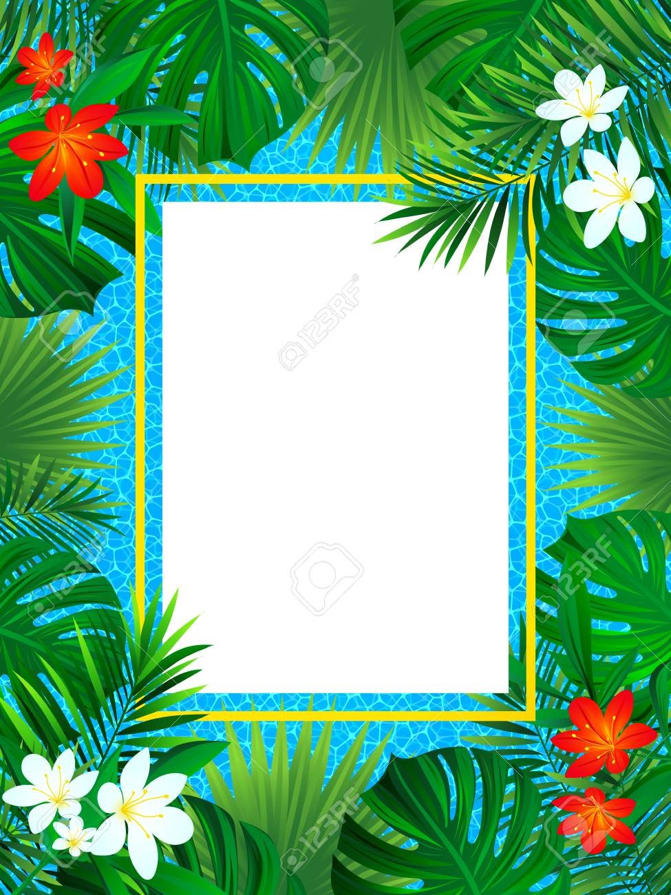 Tropical Flowers Frame Tropic Poster Vector Illustration 975x1300