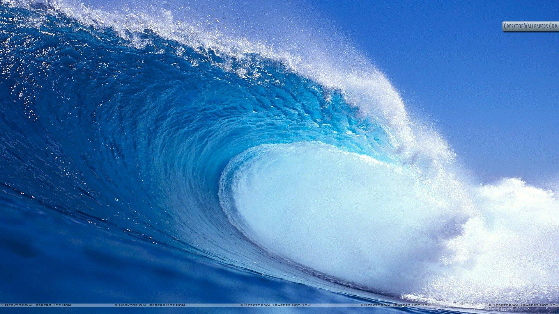 Blue Water Waves Wallpaper 1920x1080