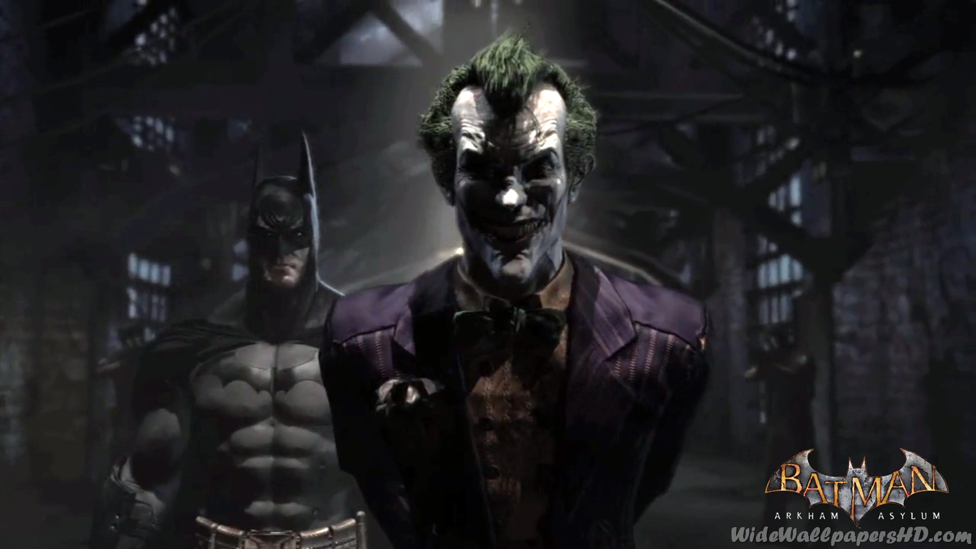 Image   Batman With Joker In Pen Batman Arkham Asylum Wallpapersjpg 1920x1080