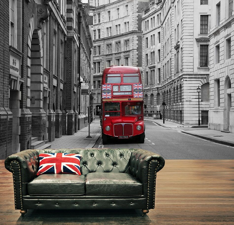 Giant Size Red London Bus Decorating Wallpaper Mural Art 10 950x916