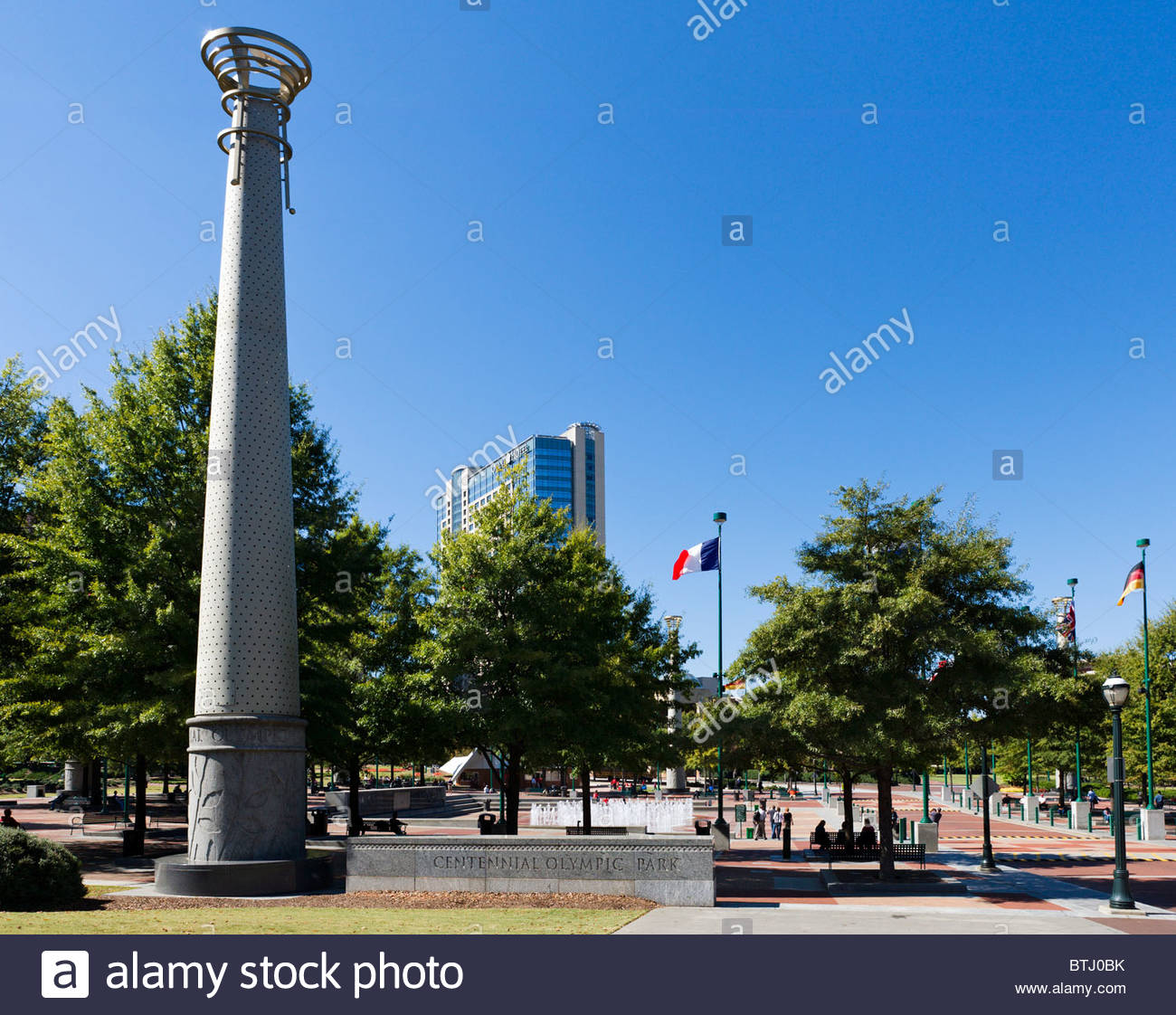 The Centennial Olympic Park with the Omni Hotel in the background 1300x1122
