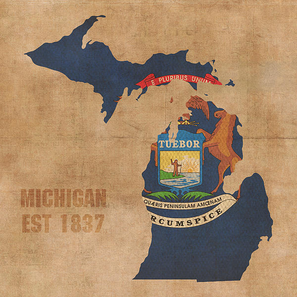 Michigan State Flag Map Outline With Founding Date On Worn Parchment 600x600