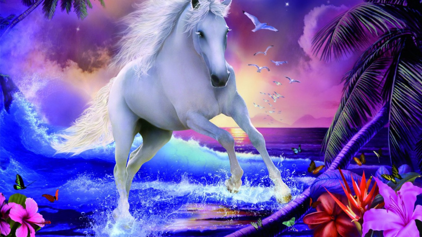 Magical Unicorns 3 High Resolution Wallpaper Wallpaper 1366x768