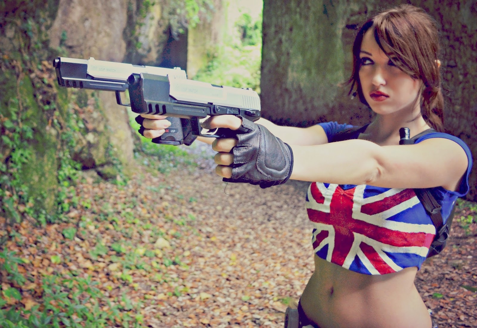 Lara Croft cosplay girls with guns guns women wallpaper 043101 jpg 1600x1101