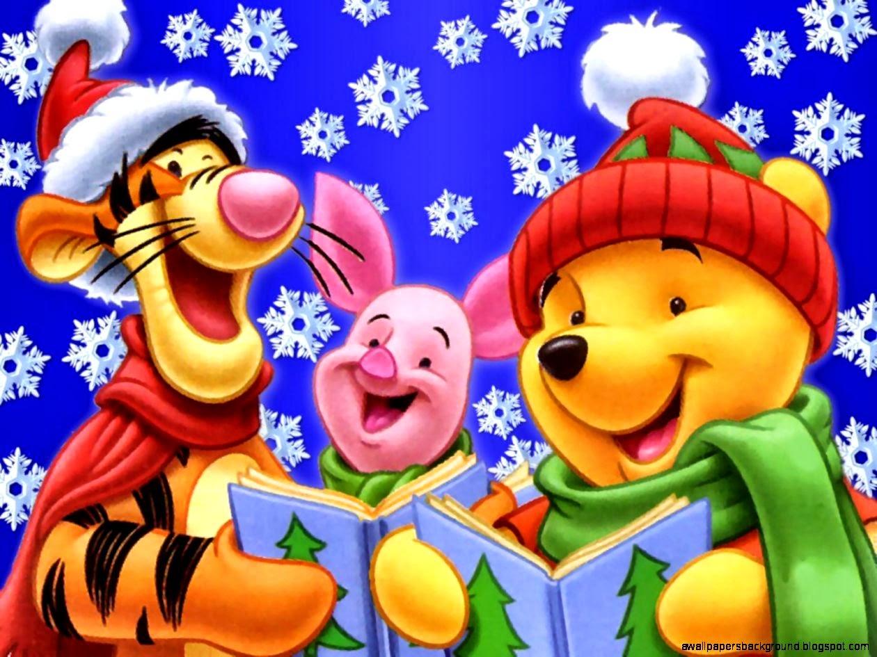 Winnie The Pooh Christmas Celebration Cartoon Wallpaper | Wallpapers ...
