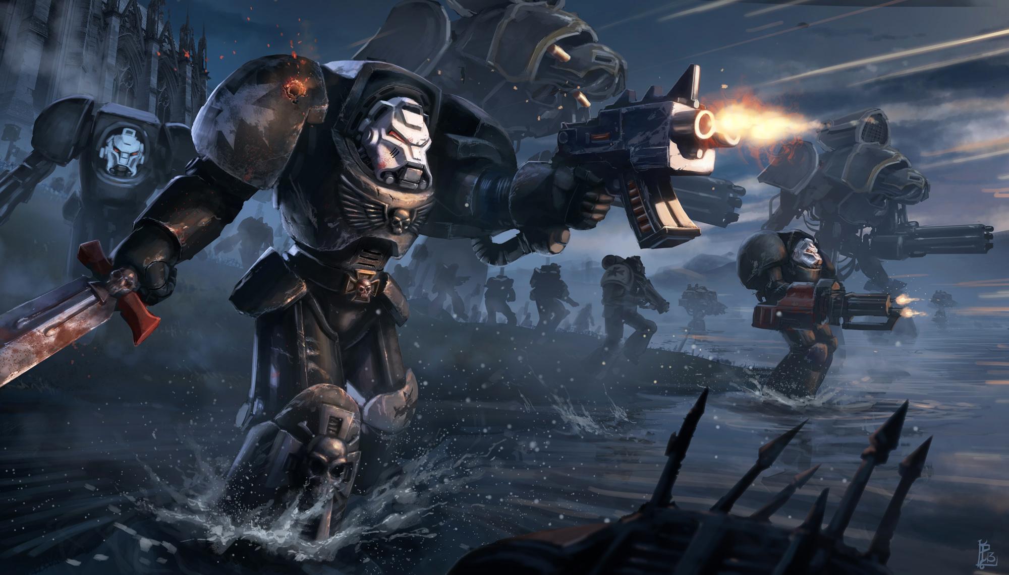 Warhammer 40k Space Marines sci fi warrior mech mecha weapon gun 2000x1141