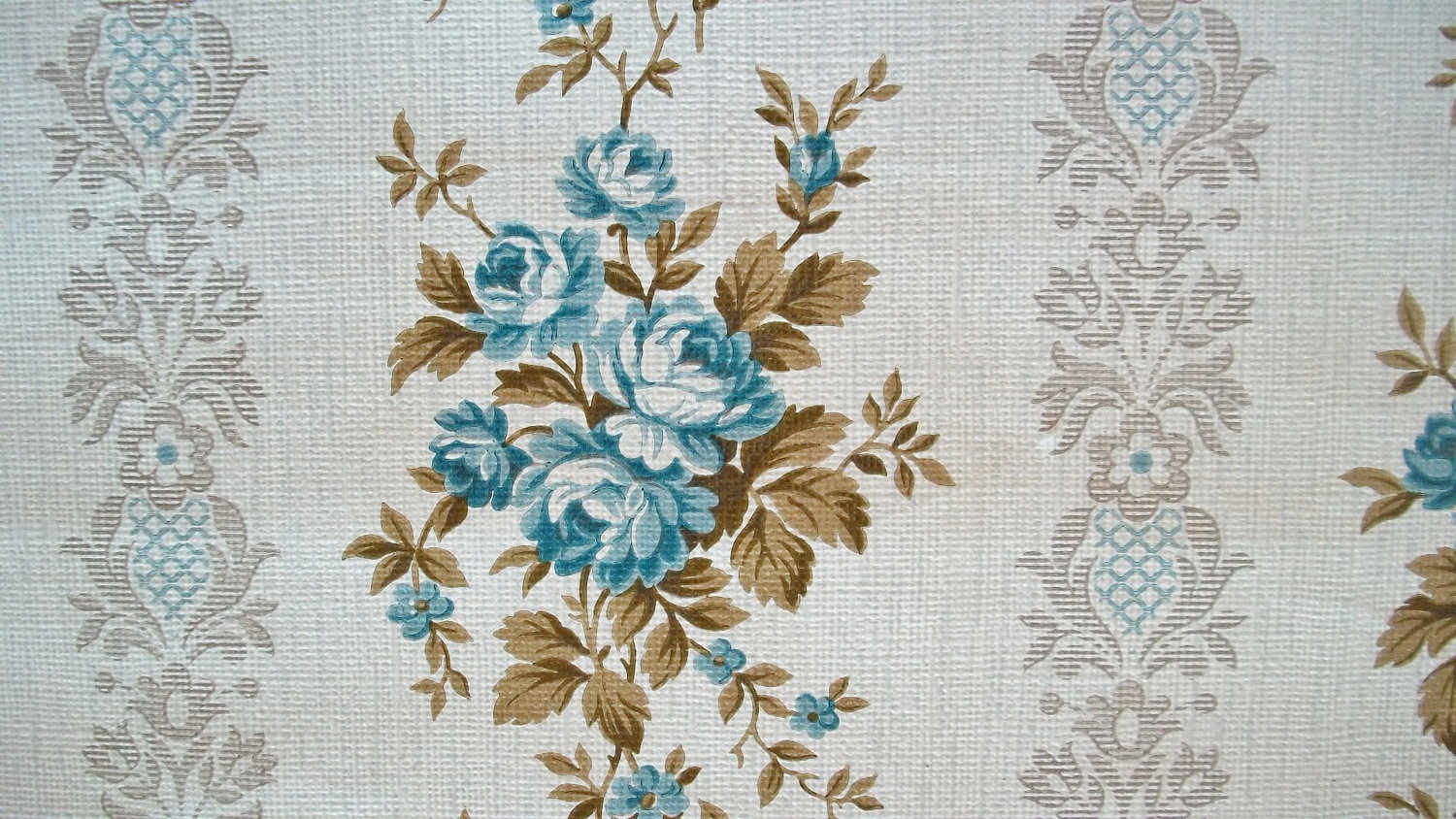 Vintage French 1940s Wallpaper Blue Rose by afarmhouseinfrance 1500x844