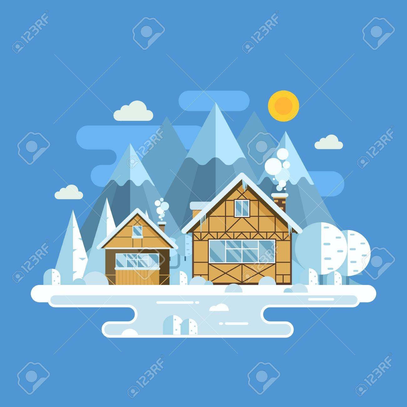 Winter Village Landscape With Snowy Homes Frozen Lake And 1300x1300
