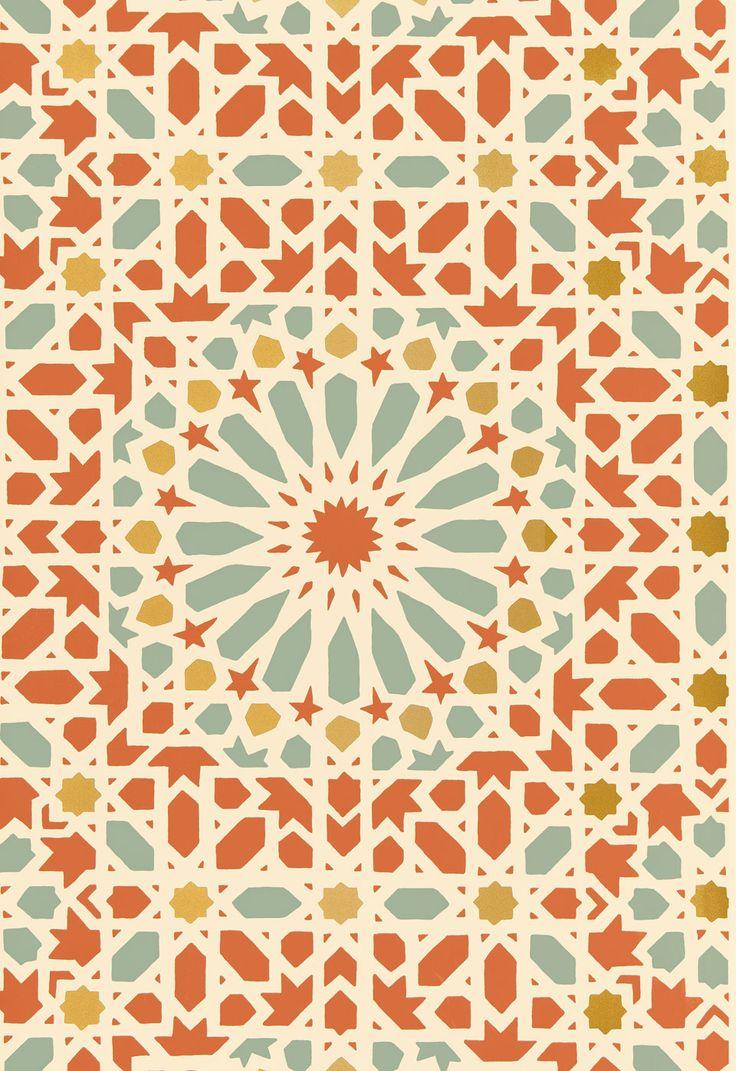 Orange geometric wallpaper wallpapersafari for Moroccan wallpaper uk