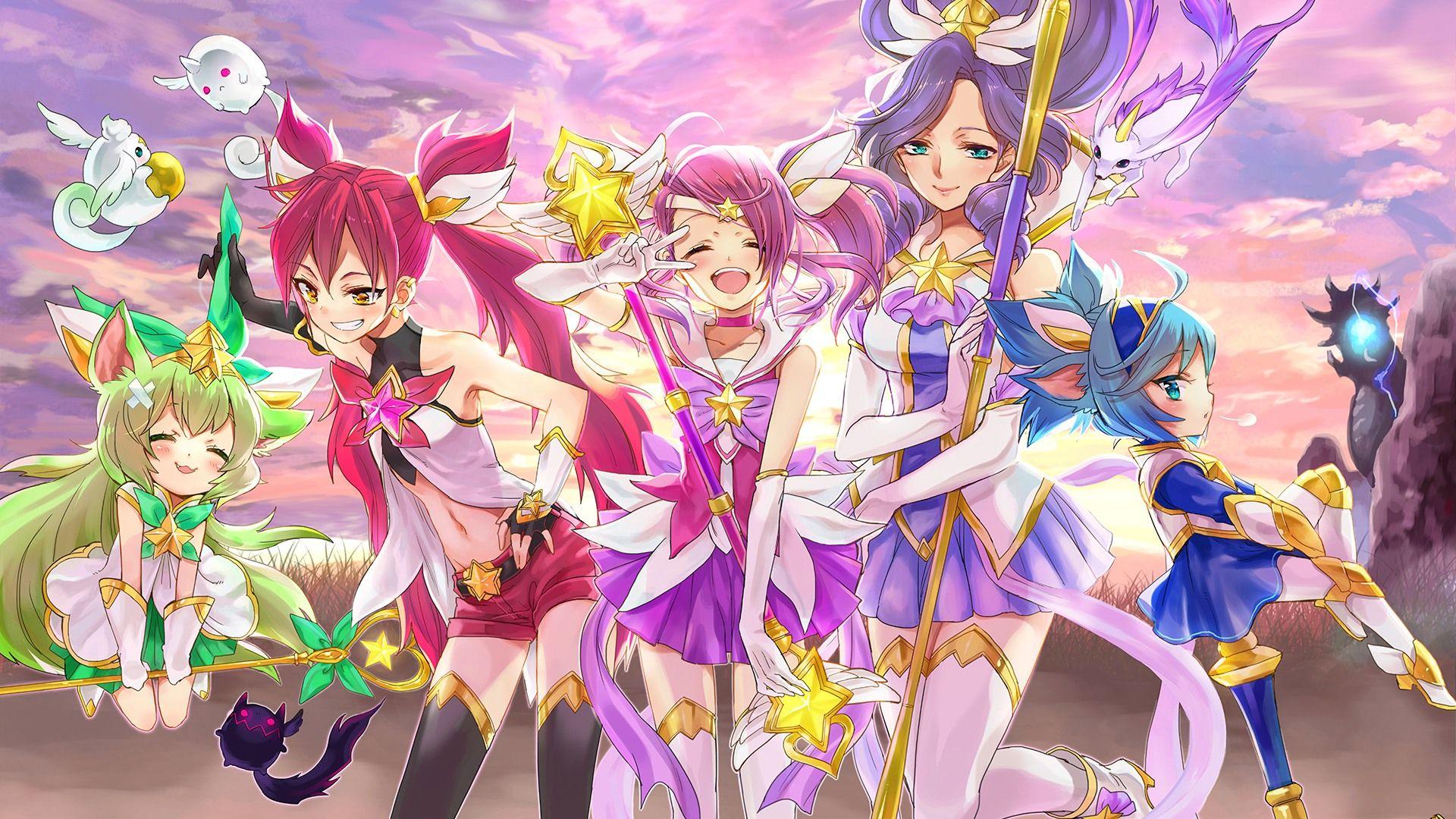 Download wallpaper Star Guardian Anime Cute Girls Lux Jinx Janna 1920x1080