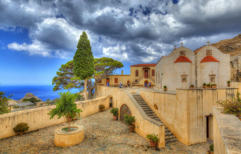 Wallpaper sea clouds coast Greece the monastery Crete Crete 1332x850