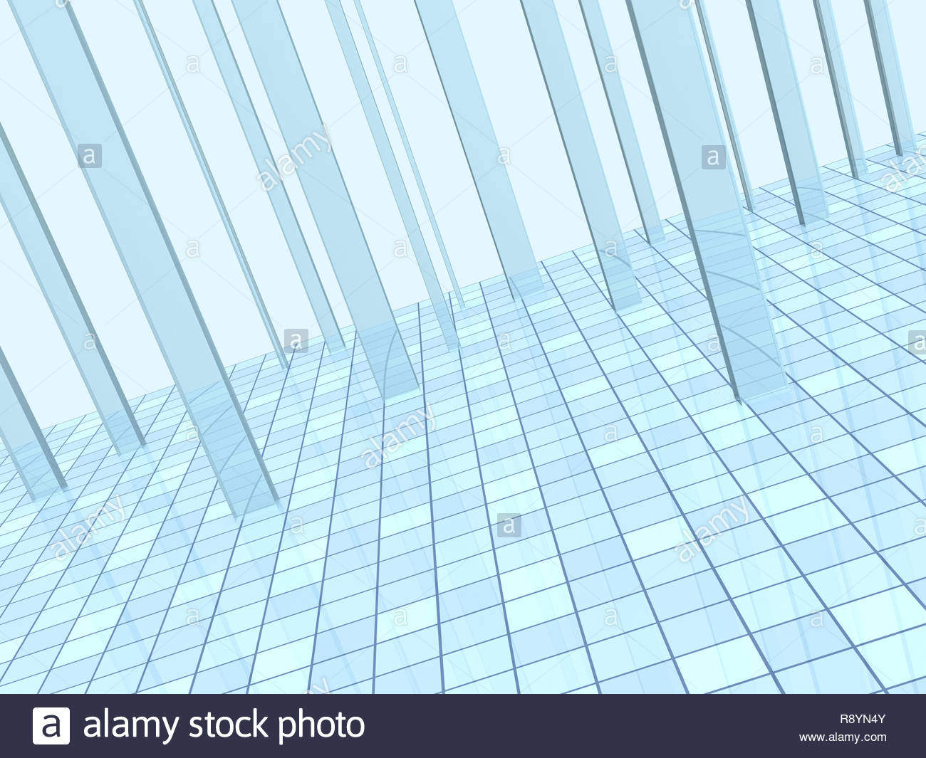 Abstract blue background with columns and a tiled floor Stock 1300x1065