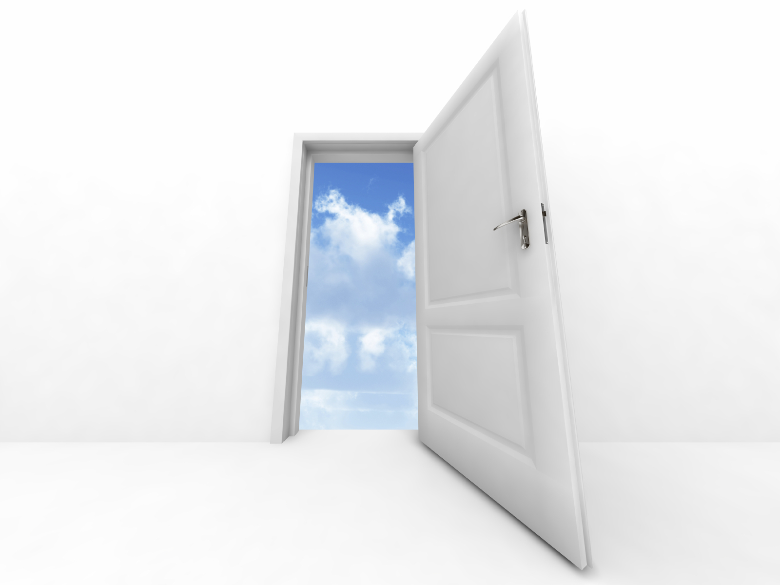 wall and opened to sky door on a white background 1600x1200