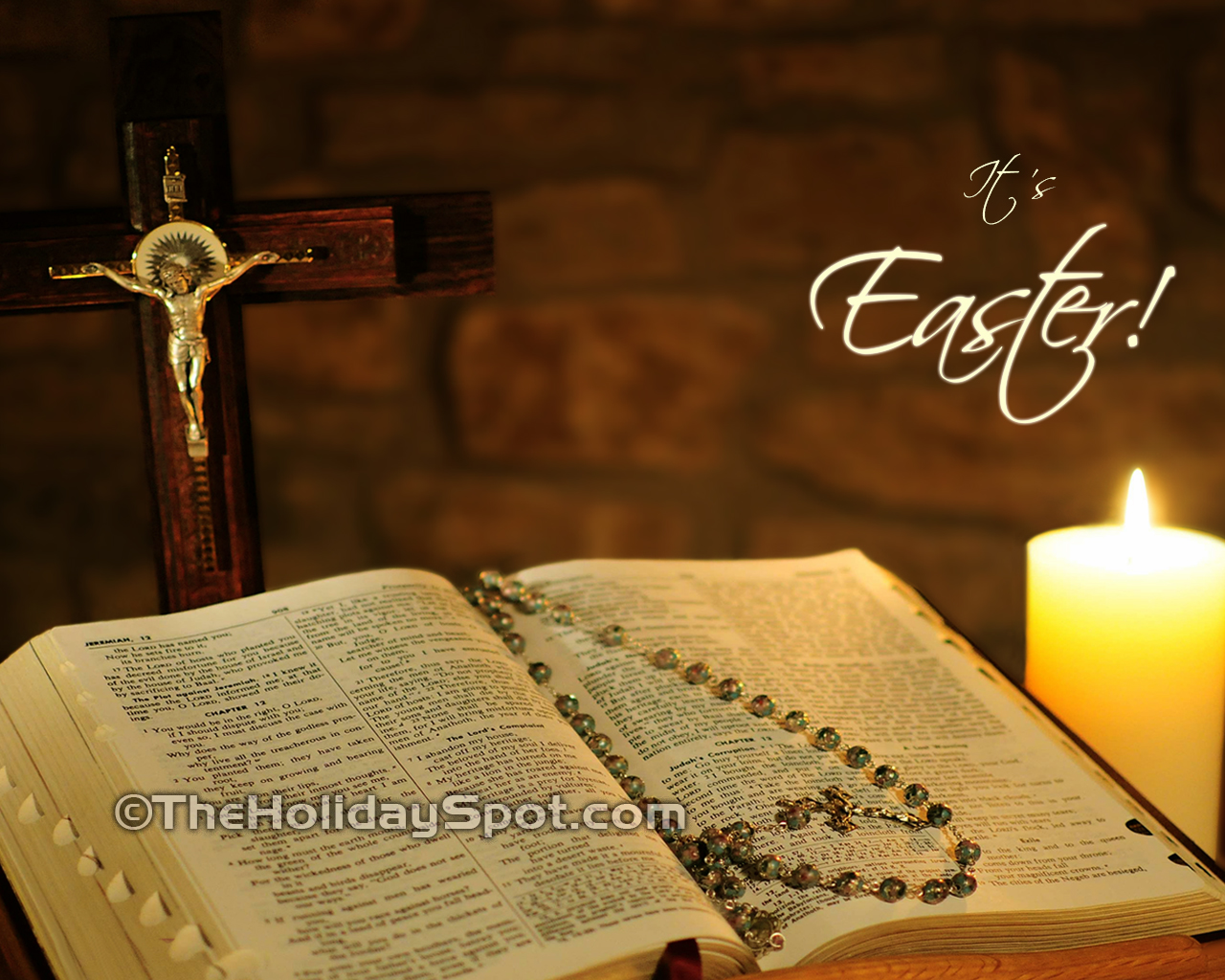 High Definition Easter wallpapers featuring bible and holy Cross 1280x1024