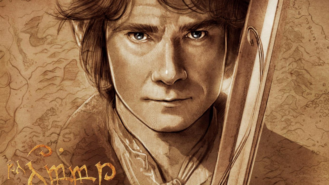 1366x768 The Hobbit Bilbo Baggins Artwork desktop PC and Mac wallpaper 1366x768