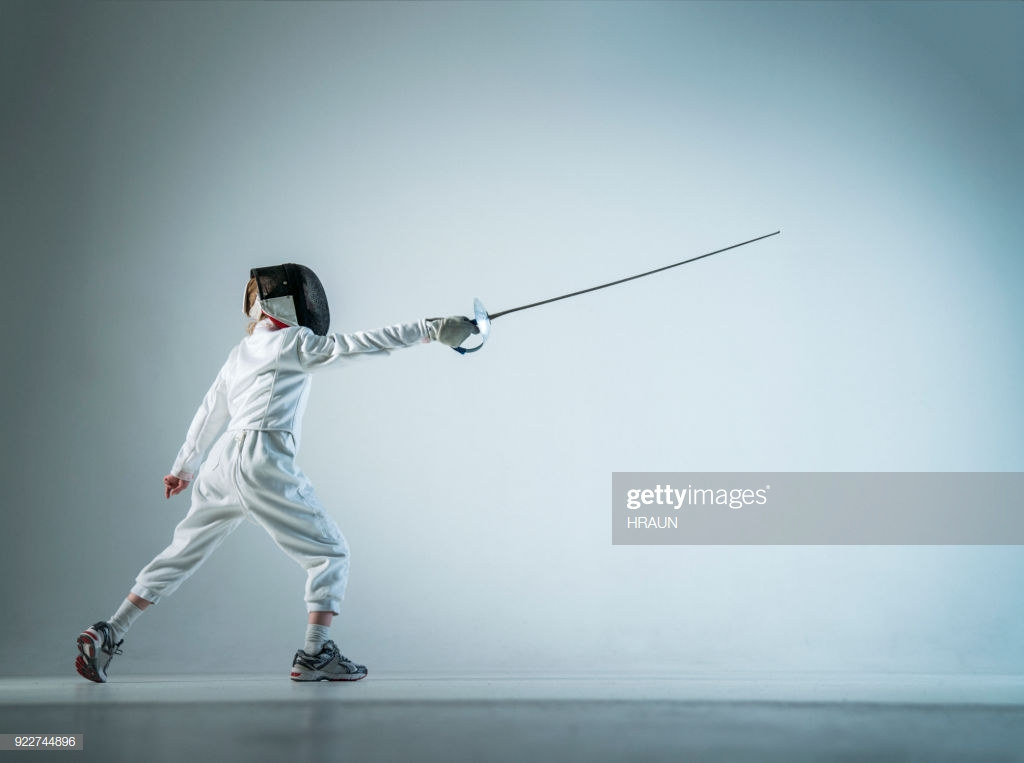 Boy Fencing Lunge Over White Background Stock Photo   Getty Images 1024x763