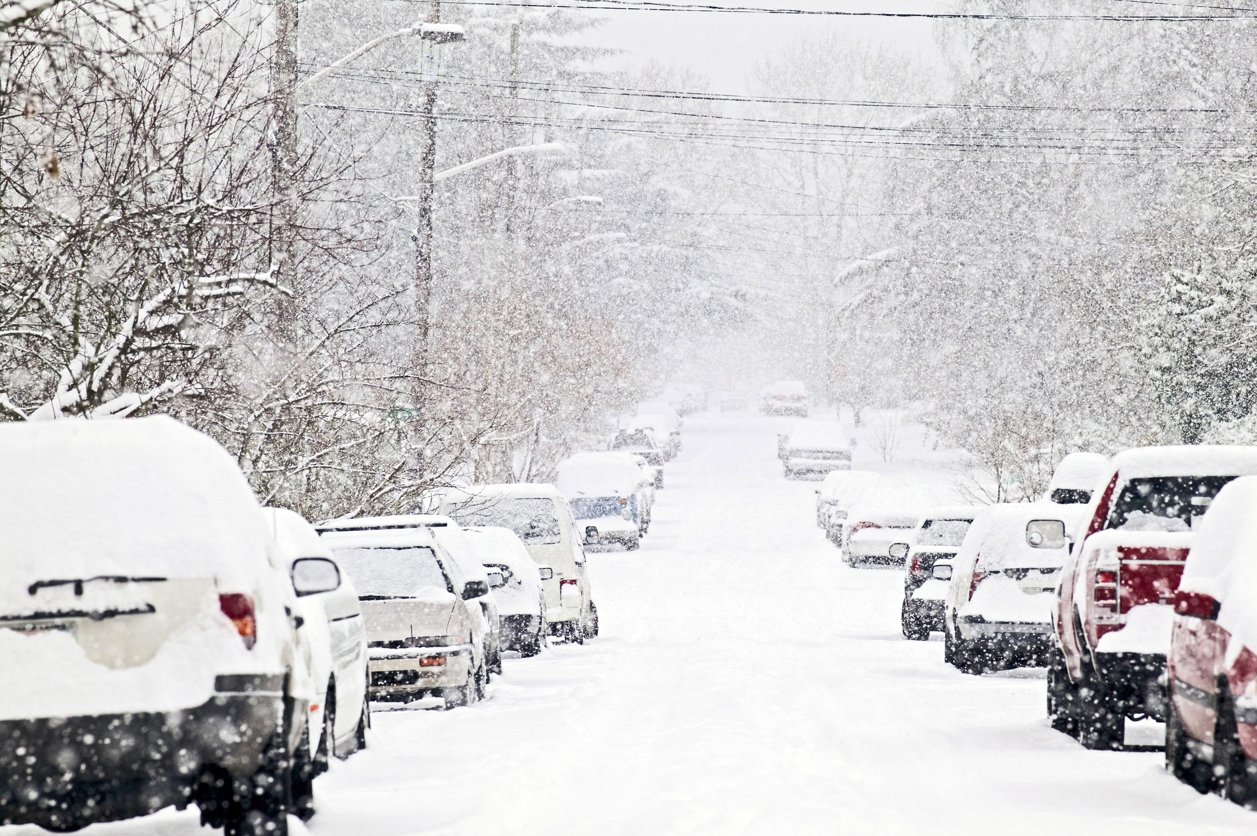Wallpaper Snow Winter Street Snowfall In The City 3994x2657