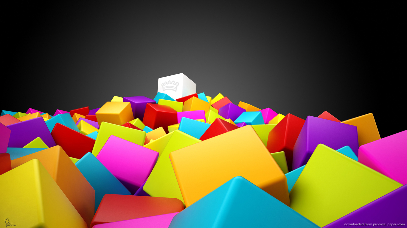 Download 1366x768 Cool 3D Colorful Cubes Wallpaper 1366x768