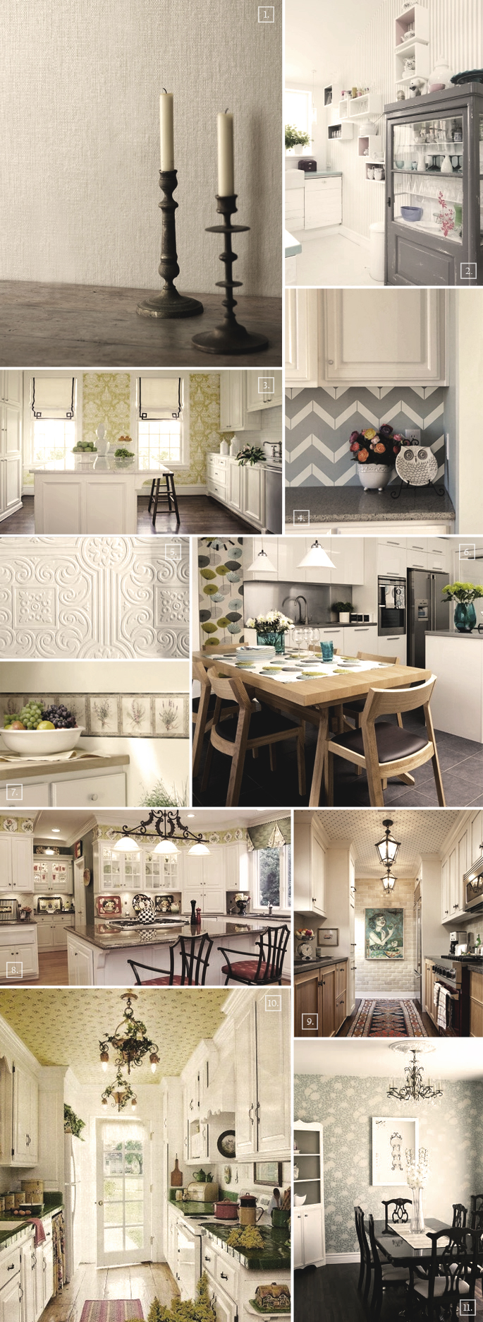 on ideas and designs when it comes to using wallpaper in a kitchen 685x1872