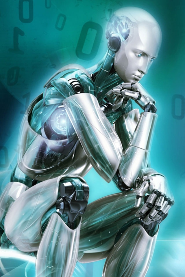 hd cool think robot iphone 4 wallpapers backgrounds 640x960