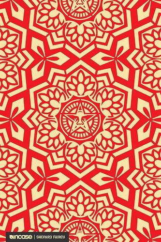 Shepard Fairey Yen Pattern Red Flickr   Photo Sharing 333x500