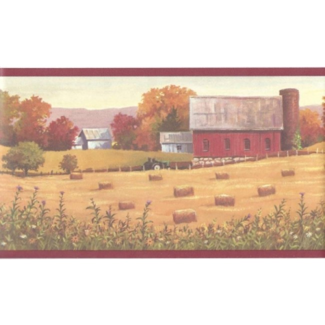 Colorful Hay Farm in the Fall Wallpaper Border   All 4 Walls Wallpaper 650x650