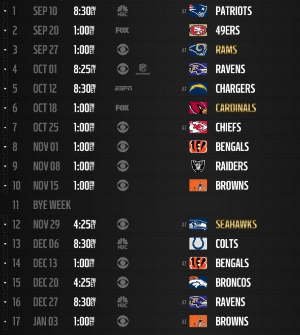 look at the Pittsburgh Steelers schedule for the 2015 season 590x658