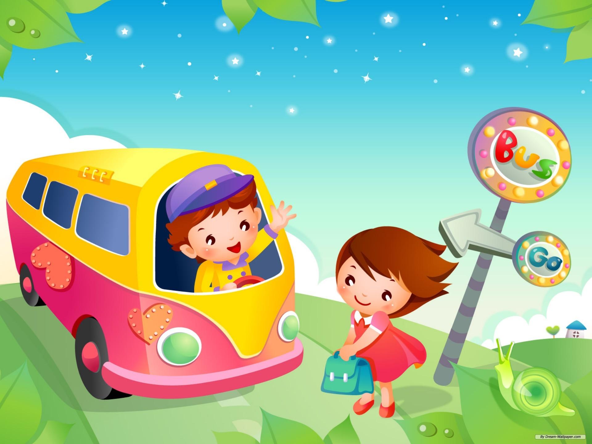 Kids School Bus Cartoon High Resolution Wallpapers Download 1920x1440