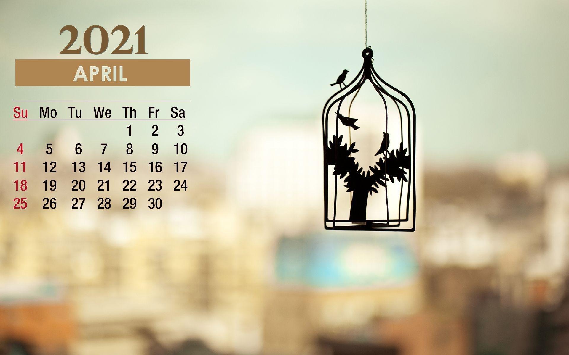 April 2021 Calendar Cage Birds Wallpaper 72163   Baltana 1920x1200